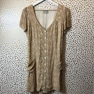 URBAN OUTFITTERS brown floral button down dress M